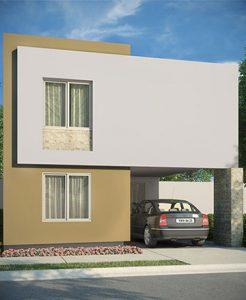 Casas en Cumbres, Monterrey - Fachada Modelo Sonata - Samsara Residencial